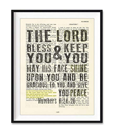 The Lord Bless You and Keep You, Numbers 6:24-26, Christian Art Print, Unframed, Vintage Bible Verse Scripture, Blessing Prayer Wall and Home Decor Poster Gift, 8x10 Inches