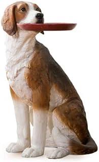 OMING Estatua de Mesa La Creatividad Estatua de Perro Artificial con la Bandeja de Animales decoración del hogar artesanía...