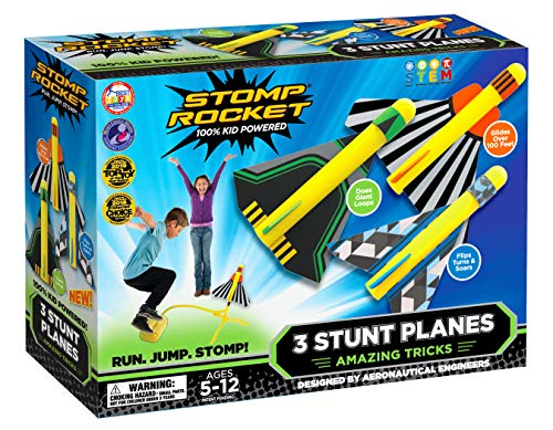 Image of the Stomp Rocket Stunt Planes - 3 Foam Plane Toys for Boys and Girls - Outdoor Rocket Toy Gift for Ages 5 (6, 7, 8) and Up