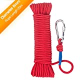 Wukong Fishing Magnet Rope w/Carabiner, 8MM x 20M(65ft) Nylon Twisted Braided Rope,550 Lbs Breaking Strength All-Purpose Braided Rope Sports, Pet Toys, Crafts & Indoor Outdoor Use