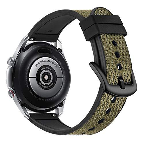 Yooside 22 mm pulsera para Samsung Galaxy Watch3 45 mm, tejido de nailon híbrido de silicona reloj de pulsera para Samsung Galaxy Watch 46 mm/Gear S3 (verde)
