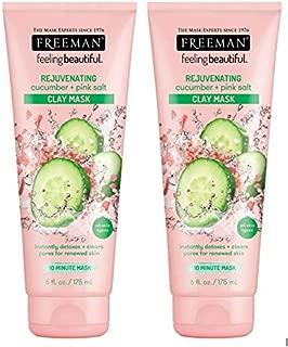 Freeman Facial Cucumber+Pink Salt Rejuvenate Clay Mask 6 Ounce (Pack of 2)