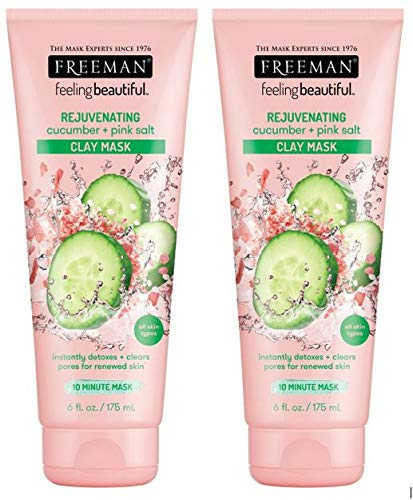 Freeman Rejuvenating Clay Facial Mask, Purifying, Exfoliating, and Detoxifying Beauty Face Mask, 6 oz, 2 Pack