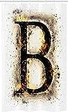 ABAKUHAUS Buchstabe b Schmaler Duschvorhang, Sprache in Flammen, Badezimmer Deko Set aus Stoff mit Haken, 120 x 180 cm, Orange Schwarz Tan