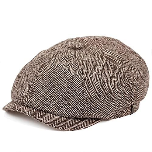 LHL Boina de los hombres Casquillo de espiga Otoño e Invierno Sombreros Otoño e Invierno Caliente Newsboy Boina Caps Tweed Estilo Británico Octagonal Sombreros