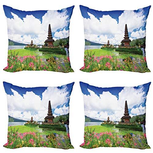 ABAKUHAUS Exótico Set de 4 Fundas para Cojín, Bali Tropic Mar Flores, Estampado Digital en Ambos Lados y Cremallera, 45 cm x 45 cm, Azul Rosa Verde