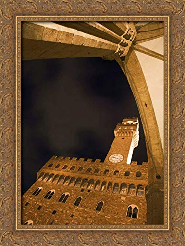 Flaherty, Dennis 17x24 Gold Ornate Framed Canvas Art Print Titled: Italy, Florence Palazzo Vecchio at Night