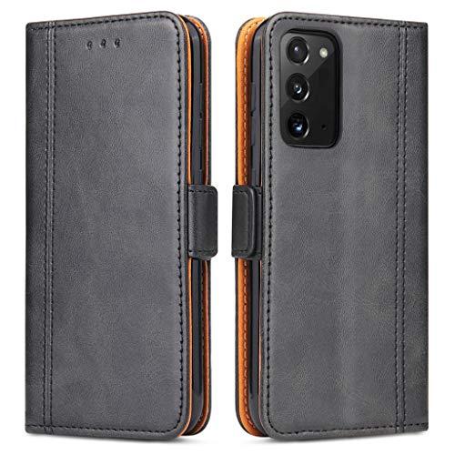 Bozon Handyhülle für Galaxy Note 20, Lederhülle mit Kartenfächer, Handytasche mit Standfunktion, Klapphülle Tasche für Samsung Galaxy Note 20 (Schwarz)