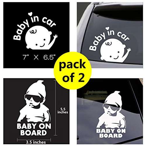Baby in Car Sticker Decals Safety Signs Baby on Board for Cars 7''X6.5'' Waterproof Shiny Reflective Material (White) Last for 6 Yr (Buy 1 Get 1)