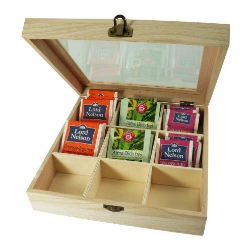 Incutex Aufbewahrungsbox aus Holz, Teebeutelbox, Teekiste, Teebox, Teedose Holz mit 9 Fächern und Sichtfenster