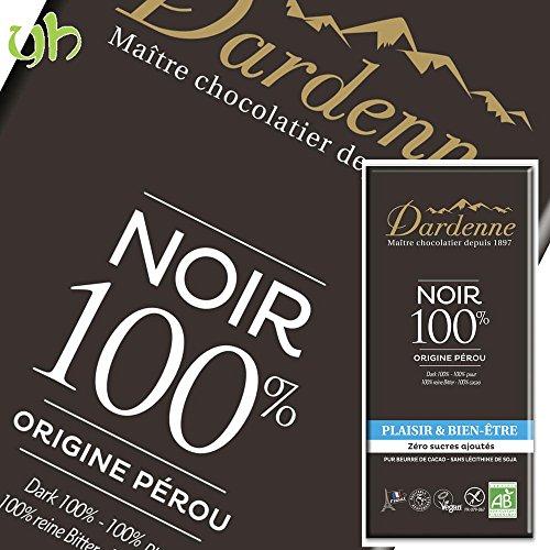 DARDENNE Tablette Noir 100% sans Sucres Ajoutés 70 g - Lot de 9