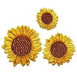 YXJD 3pcs Kleidung Patches Set Sonnenblume Aufnäher Kleidung Flicken Stylische