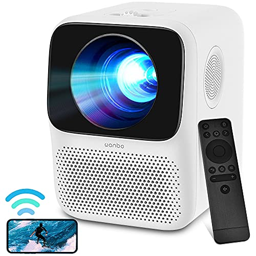 WANBO Mini Beamer, Mini Beamer Full HD WLAN Bluetooth, 1080P Full HD Heimkino Beamer, lektronische Korrektur,Dual Lautsprecher, LED Beamer Kompatibel mit TV Stick, HDMI, USB, iOS/Android