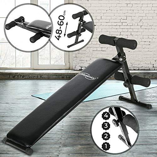Physionics Sit Up Bank mit Beinfixierung - Klappbar, 48-60cm (4-Fach) Höhenverstellbar, aus Stahl - Bauchtrainer, Trainingsbank, Rückentrainer