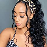 Headband Wigs Body Wave Human Hair Wigs with Headband Attached for Women Glueless Easy to Wear 150% Density Full Machine Made Wig Brazilian Virgin Human hair None Lace Front Wigs Natural Color 8 inch