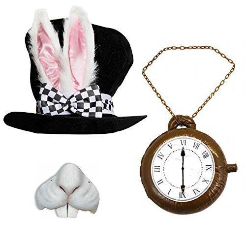 Erwachsene Deluxe Wonderland Kaninchen Hat mit den großen Ohren und Schleife + Jumbo Uhr + Kaninchen Nase ideal für Schule Buch Woche + Welt Buch Tag Fancy Kleid Kostüm Zubehör