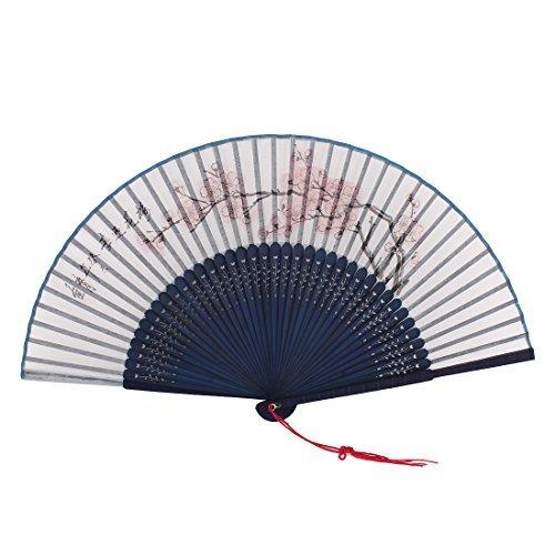 DealMux Borlas decoración Flor del Ciruelo Impresos bambú Costillas Abanico Plegable Azul...