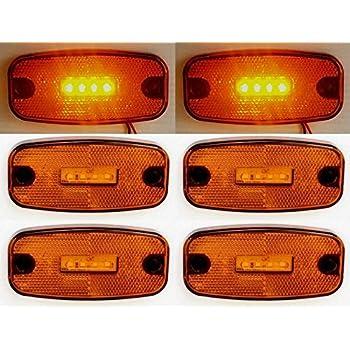 6X 24V 9 SMD LED Côté Marqueur Orange Feux Lampes Caravane Remorque Camion
