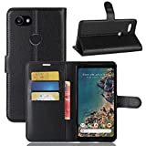 Excelsior Premium Leather Wallet Flip Cover Case for Google Pixel 2 XL (Black)