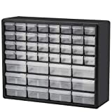 Akro-Mils 44 Drawer 10144, Plastic Parts Storage Hardware and Craft Cabinet, (20-Inch W x 6-Inch D x 16-Inch H), Black (1-Pack)