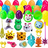 Funnlot 102PCS Easter Eggs With Toys Inside Buck Colorful Plastic Easter Eggs With Different Kinds Of Little Toys For Easter Egg Hunt Easter Theme Party Favor Basket Stuffers Fillers Classroom Prize Supplies Toddler Boys Girls