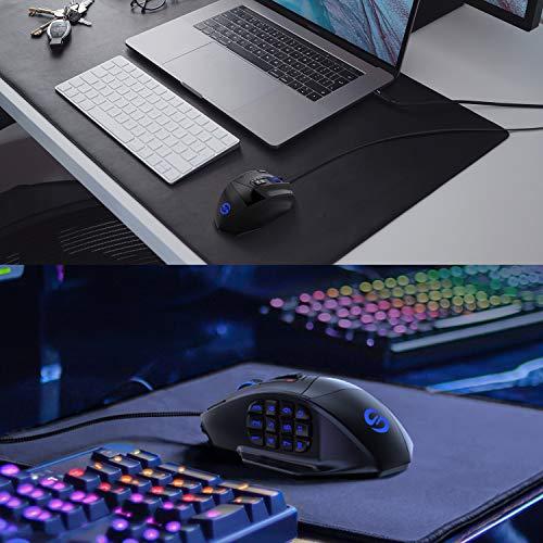 UtechSmartゲーミングマウス有線サイドボタン付き16400DPIまで調節可高精度レーザー式MMO用PC用