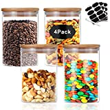 Nialnant Glass Food Jars Set, 17oz 4 Piece Storage Containers Glass Canister Set with Airtight Bamboo Lid and Chalkboard Labels for Home Kitchen, Tea, Herbs, Salt, Sugar, Pasta, Nuts, Coffee (500ML)