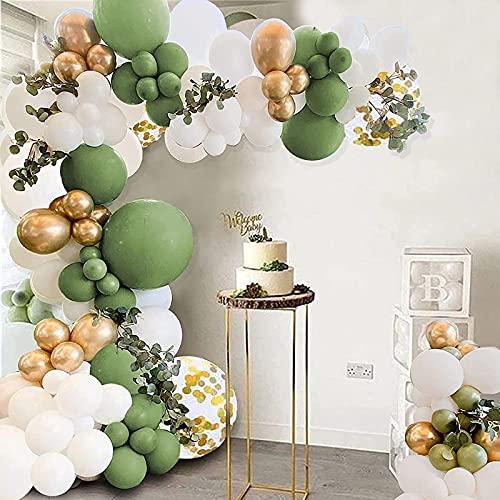 Kit de guirnalda de arco de globo, 105 globos de látex dorado y verde para fiesta de 45,7 cm globos de confeti para niños y niñas, baby shower, boda, fiesta de cumpleaños decoración