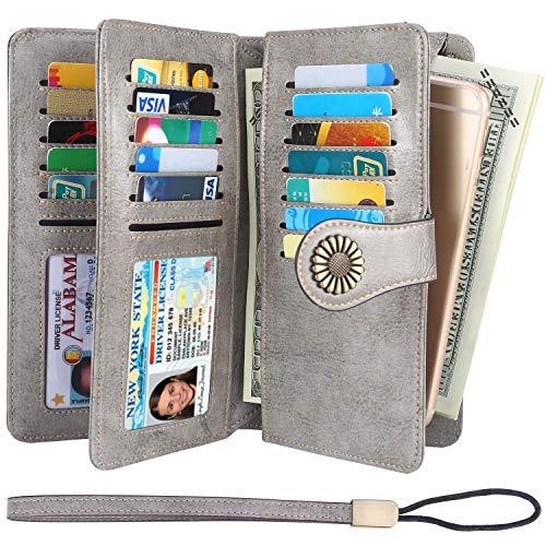 Womens Large Capacity RFID Blocking Leather Wristlet Clutch Wallets Card Holder