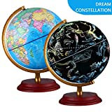 Illuminated World Globe With Wooden base Night View Stars Constellation Pattern Globe lamp For Kids with...