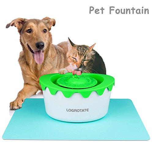 LOGROTATE Cat Fountain, Automatic Circulating 1.8L Pet Cat Water Dispenser with Adjustable Water Pump & Two Filters, Healthy Hygienic Dog Fountain Drinking Pet Water Fountain for Cats Dogs Animal