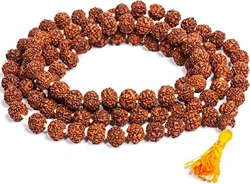 IndianStore4All Rudraksha Mala-Gebetskette (Meditation), 108 + 1 8 mm Perlen, Knoten-Mala mit roter Quaste