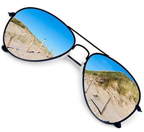 NICK and BEN Piloten-Brille Sonnenbrille Flieger Ray-Style Herren Damen Schwarz Verspiegelt Sommer