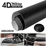 Wilktop Pegatinas Coche de Carbono 4D, Lmina de Coche de Vinilo Adhesivo Acabado Fibra de Carbono 4D Automvil de Lmina de Coche de 0.19mm (30 x 200cm) Negro