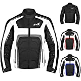 Textile Motorcycle Jacket For Men Dualsport Enduro Motorbike Biker Riding Jacket Breathable CE ARMORED WATERPROOF (Grey, 2XL)