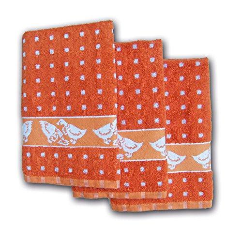 Ross Küchenfrottiertuch Gänse Quadrat Terrakotta 3er - 50x50cm