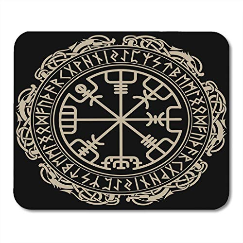 N\A Tappetini per Mouse Celtic Viking Magical Runic Compass Vegvisir in The Circle of Norse Runes And Dragons Tattoo Mousepad per Laptop, Computer Desktop Forniture per Ufficio Tappetini per Mouse