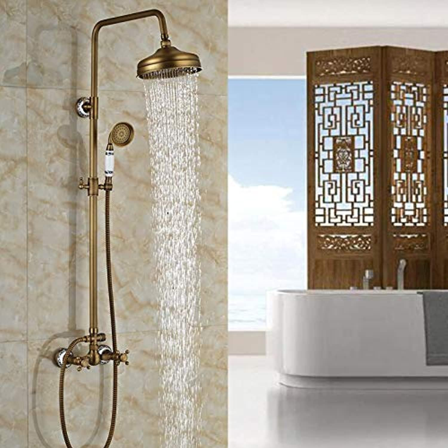 Luxury Wall Mounted Rain Bath and Shower Faucet Set with Hand Shower Dual Handle Antique Brass Finish