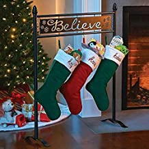 Different Patterns Stocking Hangers Iron Stocking Holder Stand for Mantel Staircase Christmas Stockings Set of 4 HelaJoy Christmas Stocking Holders Stand