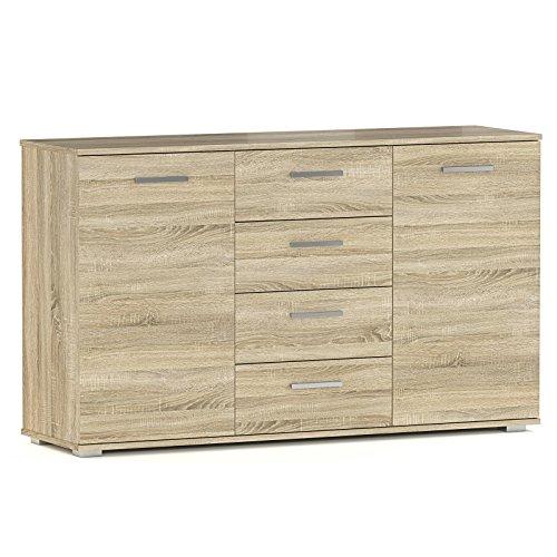 CARO-Möbel Kommode Sideboard Highboard Chicago in Sonoma Eiche mit 2 Türen und 4 Schubladen