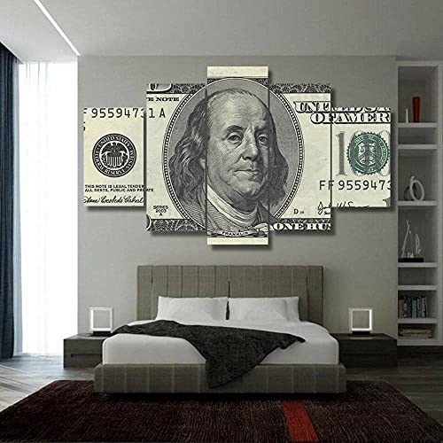 ZHONGZHONG 5 Canvas Paintings Hd Print Wall Art Poster Pictures Decoration Paintingwooden Framed Living Room Bedroomhome Decor Painting 100 Dollars Banknotes 60X32Inch/150X80Cm