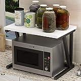 Home-Neat Étagère de cuisine sur pieds pour micro-ondes Étagère métallique en bois et acier, avec 2 tablettes, env. 57 x 38 x 37 cm, noir + blanc