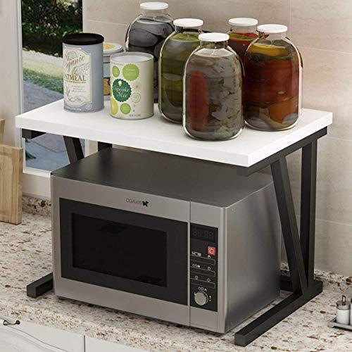 Home-Neat Küchenregal Standregal Mikrowellenhalter Bäcker Regal Metallregal aus Holz und Stahl, mit 2 Ablagen, ca. 57 x 38 x 37 cm, Schwarz + Weiß