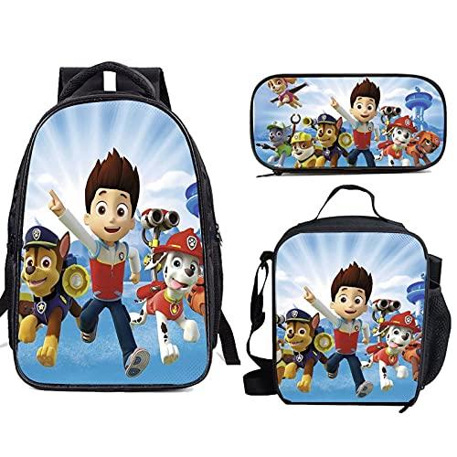 Mochila de 3 piezas de patrulla de la pata, con bolsa de almuerzo, estuche de lápices para niños, mochila de viaje para niño y niña