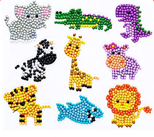 bubqooi Diamond Painting Stickers Kits for Kids9 Pcs DIY 5D Cute Animals Diamond Art Craft Mosaic Stickers Paint by Numbers Kits for Children Boys Girls Adult Beginners