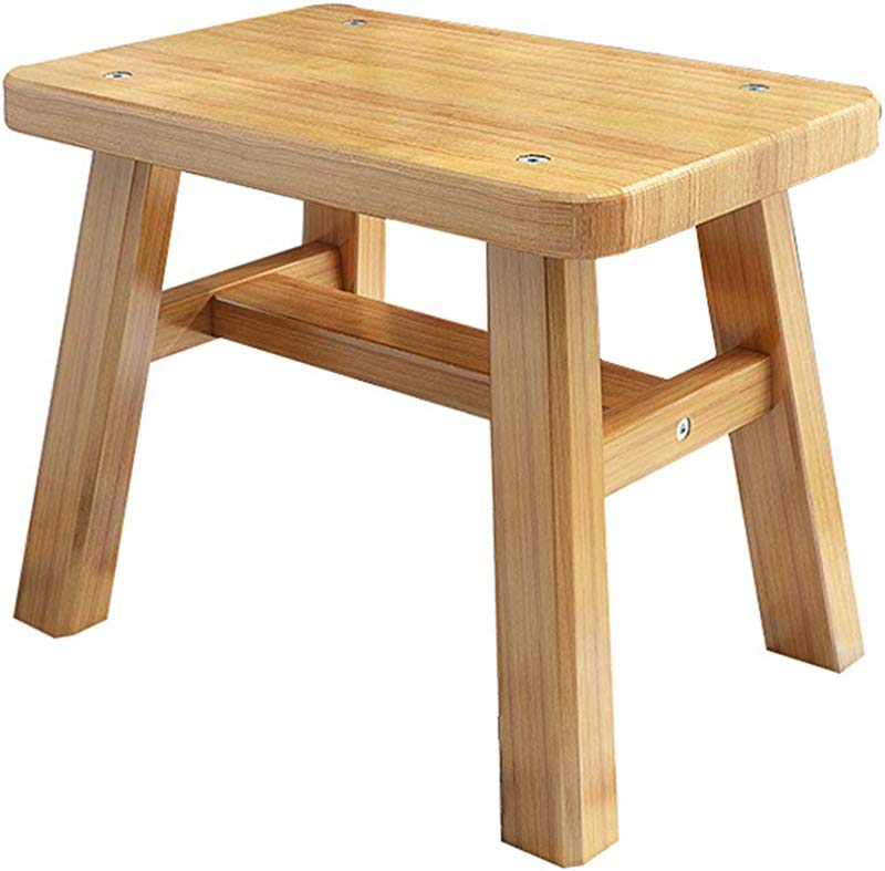 GDMING Footstool Bamboo Environmental Protection Wear Resistant Durable 2Sizes Size 25x24x17cm