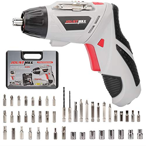 Electric Screwdriver Set, 4.8V Portable Cordless Screwdriver, Mini Household Electric Drill Two-Way 600 mAh with 46 Pcs Screws and Screwdriver