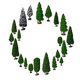 Modellbau Bäume, OrgMemory Mischwald Bäume, h0 Figuren, h0 Bäume, (19pcs, 5-15 cm), Tabletop Gelände mit Stände -