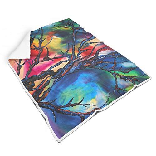 kikomia Abstrakt Baum Zweige Malerei Druck Leichtgewicht Shaggy Decke Gemütlich Couch Werfen Lesen Erwachsene&Kleinkind White 130x150cm