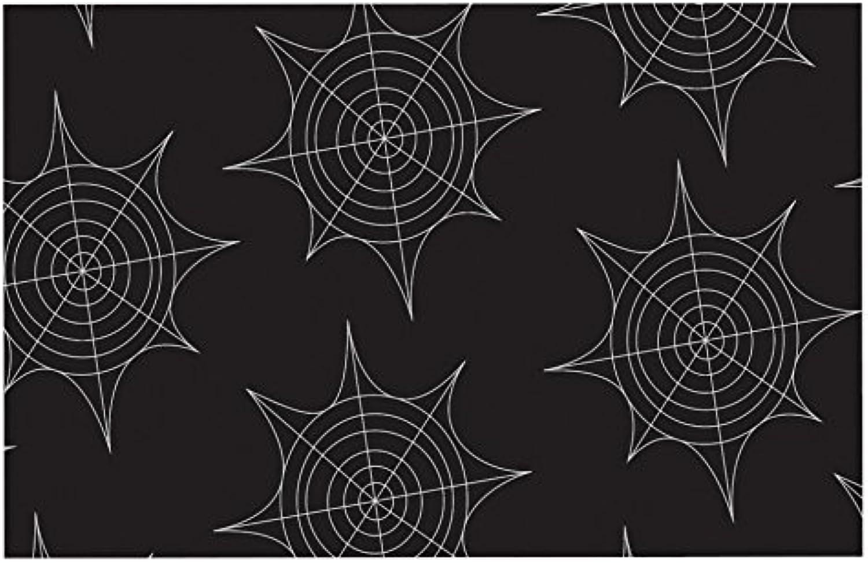 KESS InHouse KIH108CDM02 Kess Original Spiderwebs  Black Dog Place Mat, 24  x 15